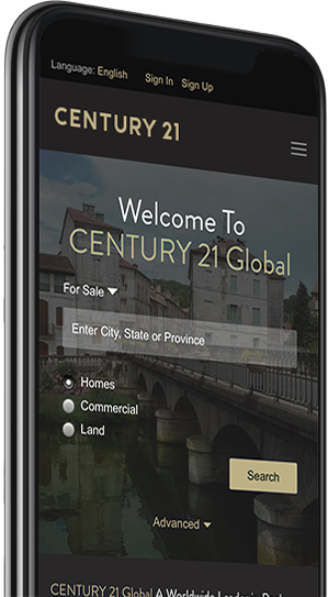 Cell phone displaying the Century 21 Mobile app